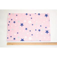 80*100см Синие и белые звезды на светло-розовом