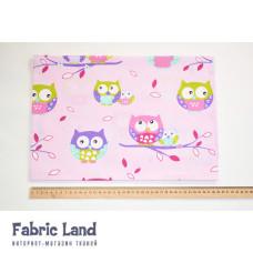 80*100см Разноцветные совы на розовом